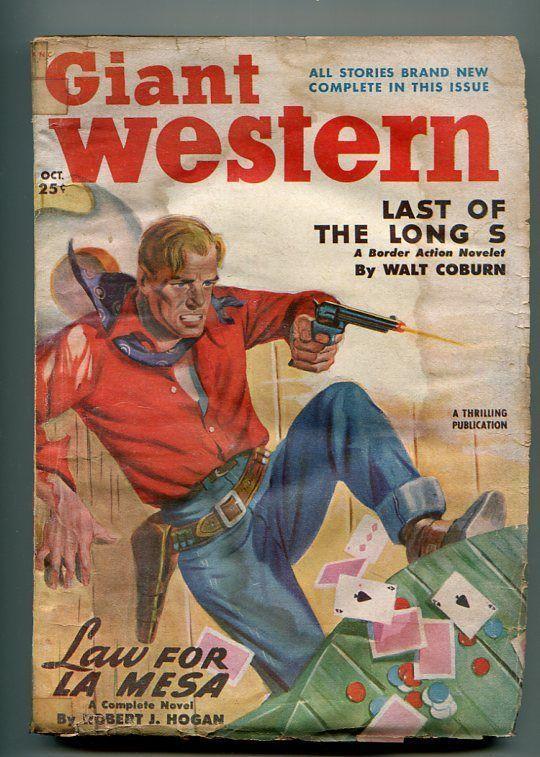 GIANT WESTERN 10/1950-THRILLING-PULP WESTERN-ROBERT J HOGAN-CARD GAME-good