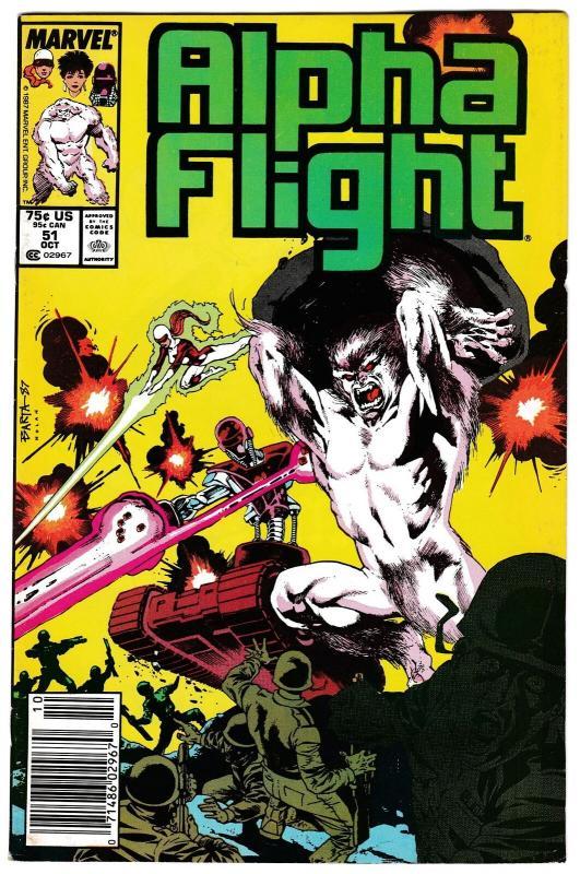 Alpha Flight #51 Jim Lee 1st Marvel Artwork (Marvel, 1987) VF-