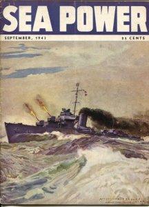 Sea Power 9/1943-McClelland Barclay cover art-war pix &info-rare-VG