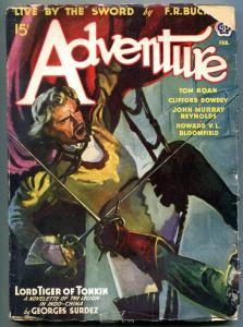 Adventure Pulp February 1942- Lord Tiger of Tonkin G/VG