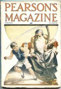 PEARSON'S MAGAZINE-JAN 1909-H L PARKHURST FATHER TIME COVER-PULP-OCCULTISM