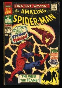 Amazing Spider-Man Annual #4 VG- 3.5 Human Torch!