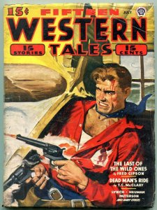Fifteen Western Tales Pulp July 1944- Fred Gipson- Dead Mans Ride VG
