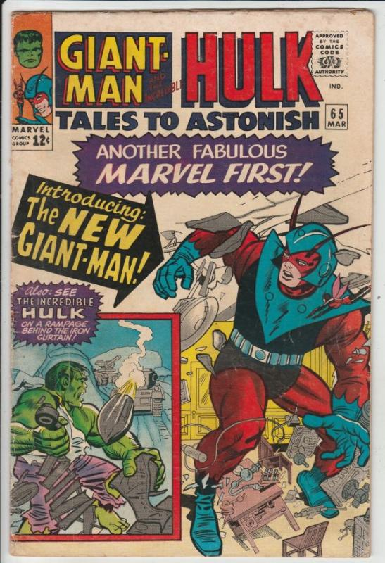Tales To Astonish #65 (Mar-65) FN+ Mid-High-Grade Incredible Hulk, Giant Man,...