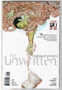 UNWRITTEN #1, NM+, Vertigo, Mike Carey, Peter Gross, 2009, comic