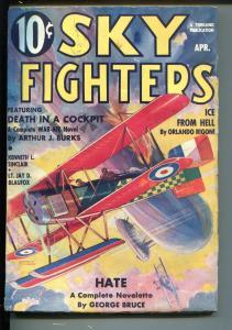 SKY FIGHTERS 4/1936-AIR WAR PULP-THRILLS-WWI-BI-PLANE-THRILLS-fn