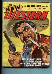 NEW WESTERN-NOV 1948-VIOLENT PULP FICTION-BANDITO COVER-PETER DAWSON-vg