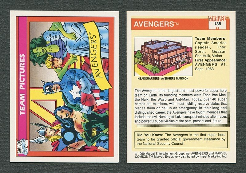 1990 Marvel Comics Card  #138 (Avengers) / NM-MT+