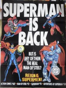 REIGN OF THE SUPERMEN PROMO POSTER 20x 26 DC COMICS!  folded