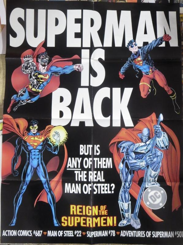 REIGN OF THE SUPERMEN PROMO POSTER 20x26 DC COMICS!