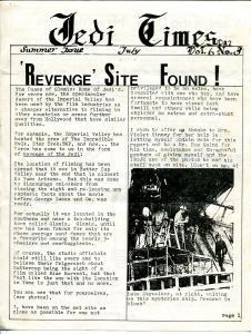 Jedi Times Vol. 6 #3  7/1982-rare Star Wars Fanzine-newsletter format-VG
