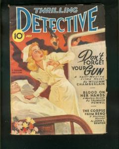 THRILLING DETECTIVE PULP JULY 1946-NURSE COVER G/VG