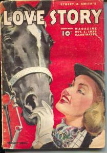 Love Story 10/1/1938-pulp romance-Modest Stein horse cover-G/VG