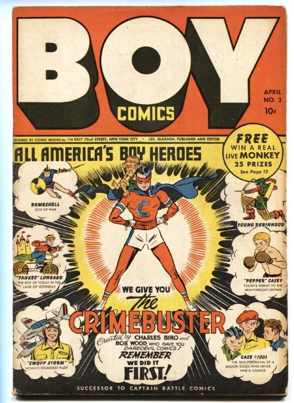 Boy Comics #3 1942-First issue-1st CRIMEBUSTER-IRON JAW-HTF