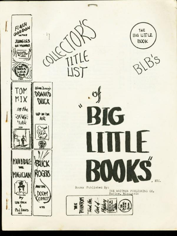 COLLECTORS TITLE LIST OF BIG LITTLE BOOKS-1960S-WHITMAN VG/FN