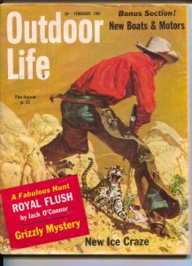 Outdoor Life 2/1961-Popular Science-jaguar attack cover-Frank McCarthy-huntin...