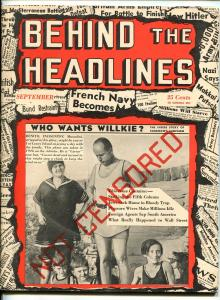 BEHIND THE HEADLINES #1 09/1940-1ST ISSUE-EXPLOITATION-SOUTHERN STATES-vf