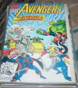 Avengers # 350  vs starjammers  flip book # 53 vs x men   vision thor herc