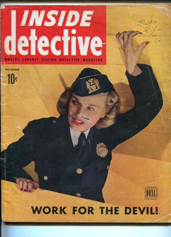 Inside Detective 11/1945-Dell-police woman-Texas oil swindle-crime pulp-FR/G
