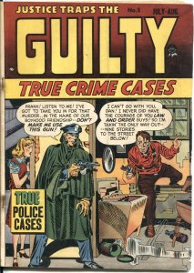 JUSTICE TRAPS THE GGUILTY #5-1948-SIMON & KIRBY-A C HOLLINGSWORTH ART PRE-CODE