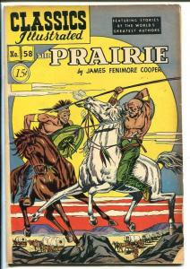 CLASSICS ILLUSTRATED #86-HRN 87-THE PRAIRIE BY jAMES FENIMORE COOPER-vg