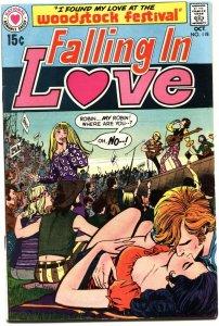 FALLING IN LOVE #118-1970-WOODSTOCK MUSIC FESTIVAL ISSUE-HIPPIES-HI GRADE