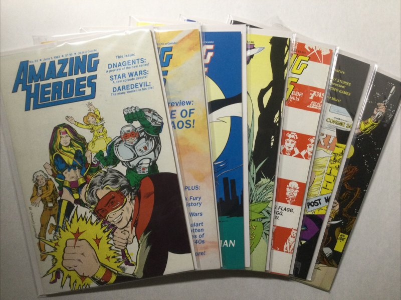 Amazing Heroes 24 26-34 40 41 Vf Very Fine 8.0 First Comics