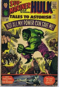 Tales to Astonish #75 ORIGINAL Vintage 1966 Marvel Comics Incredible Hulk