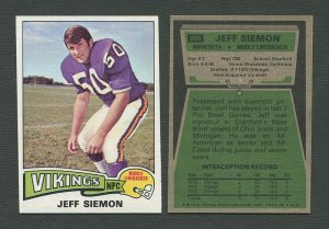 1975 Topps Football /  Jeff Siemon #268 /  NM-MT