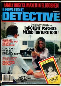 Inside Detective 12/1985-spicy gun moll-violent pulp crime thrills-G