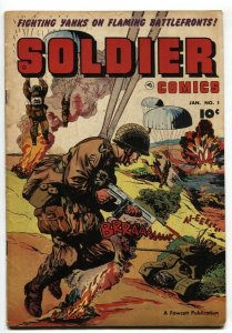 Soldier Comics #1 1952- Parachute Tommy Gun cover- Korean War VG+