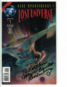 Lost Universe #1 VF signed by Gene Roddenberry + trading card - Tekno Comix 1995