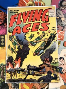 Flying Aces #1 VG+ 4.5 ten cents GOLDEN AGE war cover GLOSSY vibrant 1955 key