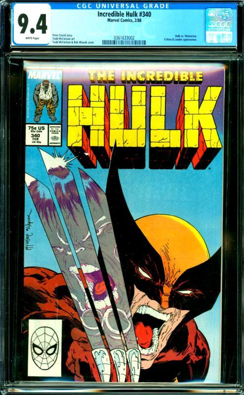 Incredible Hulk #340 CGC Graded 9.4 Hulk vs. Wolverine