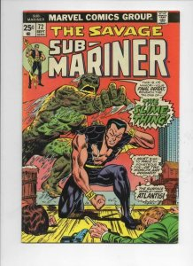 SUB-MARINER #72, VF+, Adkins, Slime Thing, Marvel, 1968 1974, more in store