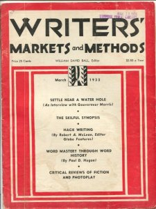 Writers' Markets and Methods 3/1933-Shadow Mysteries-War Birds-hack writing-G/VG