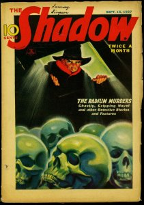The Shadow Pulp September 15 1937- Radium Murders- Top Skull cover FN