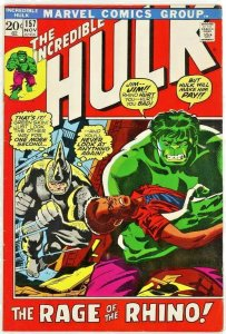 Incredible Hulk #157 Nov 1972  Comic Magazine  The Rage of the Rhino !