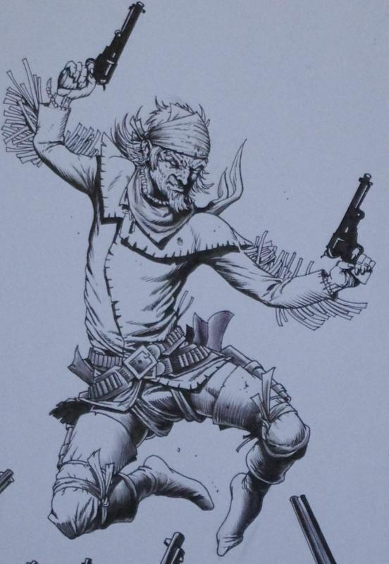 TIMOTHY TRUMAN original art, HAWKEN #5, Cover, All In, Guns Drawn, 11x17, 2011