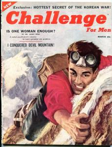 Challenge For Men #1 March 1955-MENTAL TELEPATHY-KOREA-MARILYN
