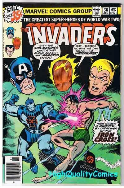 INVADERS #36, FN, Captain America, Sub-Mariner, Torch, 1975, more in store