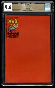 Mad #13 CGC NM+ 9.6 White Pages Gaines File Copy