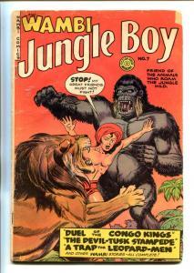 WAMBI JUNGLE BOY #7-1950-FICTION HOUSE-GIANT APE COVER-NEW LOGO-good/vg