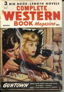 COMPLETE WESTERN BOOK--AUG 1947--BLONDE GIRL COVER ART-VIOLENT PULP THRILLS