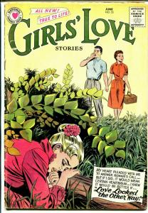Girls' Love #55 1958 DC-girl in underbrush cover-love triangle issue-VG