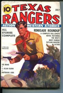TEXAS RANGERS 7/1937-JIM HATFIELD RANGER-COMIC STRIP-PULP-THRILLS-vf minus