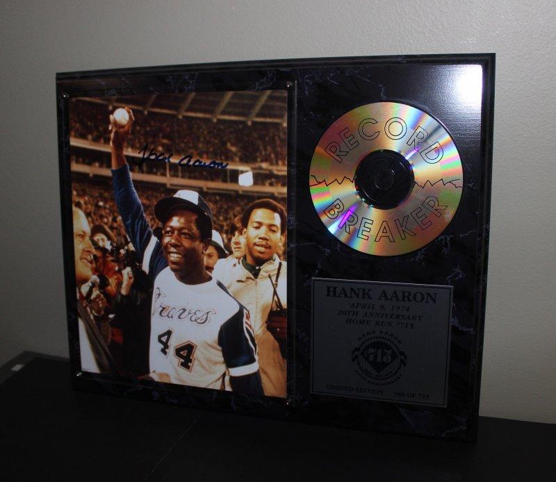 Hank Aaron 20th Anniversary Autographed Home Run Record Breaker Plaque