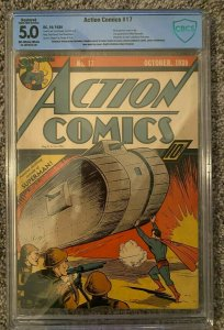 Action Comics #17 CBCS 5.0 (R) (6th Superman cover in title) 10/1939