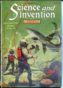 SCIENCE & INVENTION 08/1920-1ST ISSUE ELECTROCUTION-SHARKS-DEEP SEA DIVERS-vf-