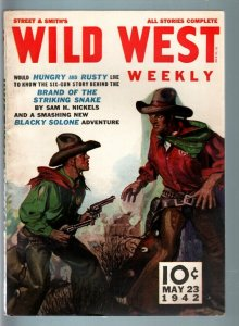 WILD WEST WEEKLY 5/23/1942-WESTERN PULP-BLACKY SOLONE VF